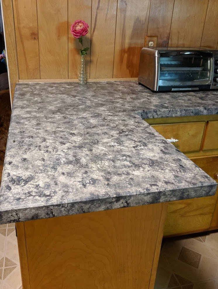 Painted countertops-the middle of my kitchen transformation.