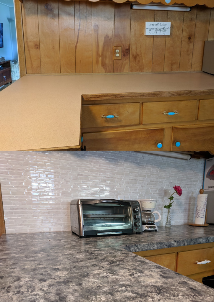 DIY Cheap Kitchen Transformation (Countertops and Backsplash)