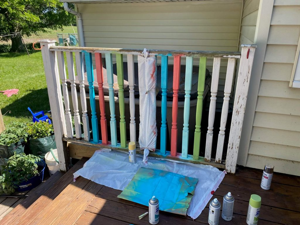 How to paint spindles for a deck upgrade