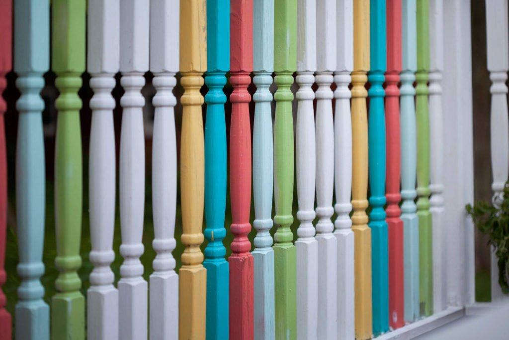 Paint exterior spindles different colors