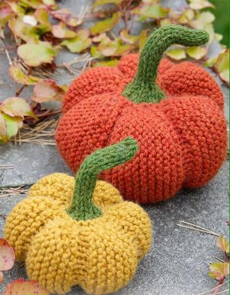 Stuffed knitted pumpkins