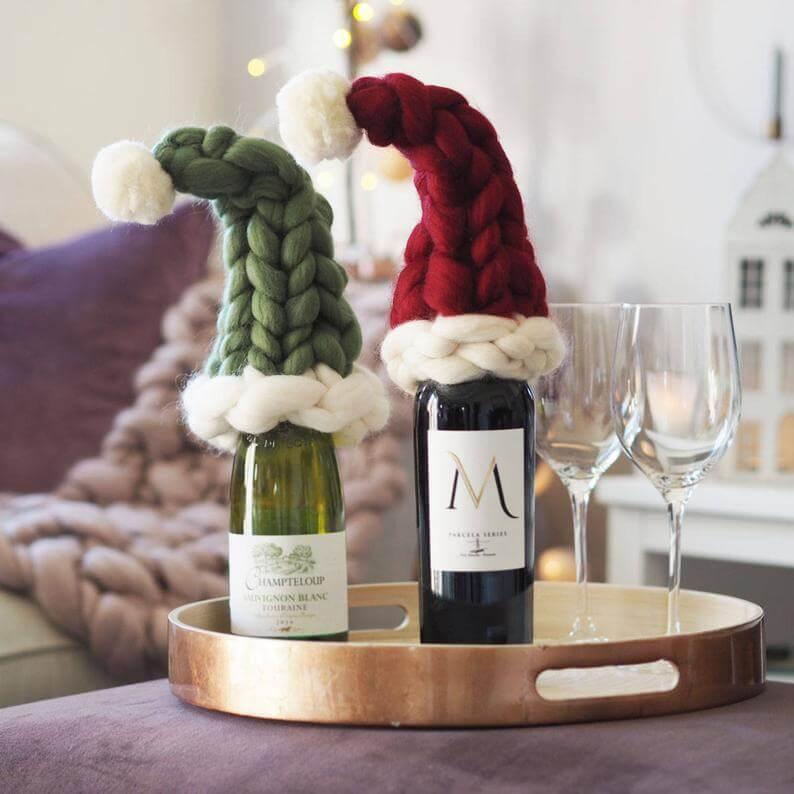 santa hat wine