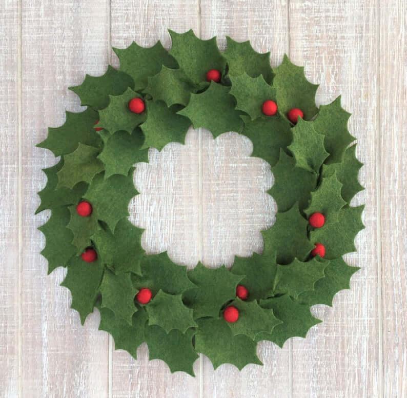 unique felt wreath