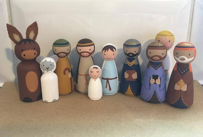 Peg doll nativity