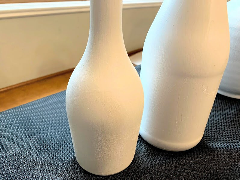 close up of painted vases