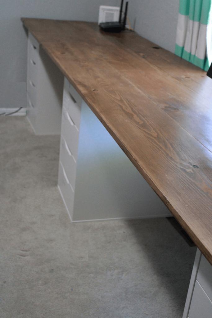 Wooden desktop on IKEA ALEX cabinets