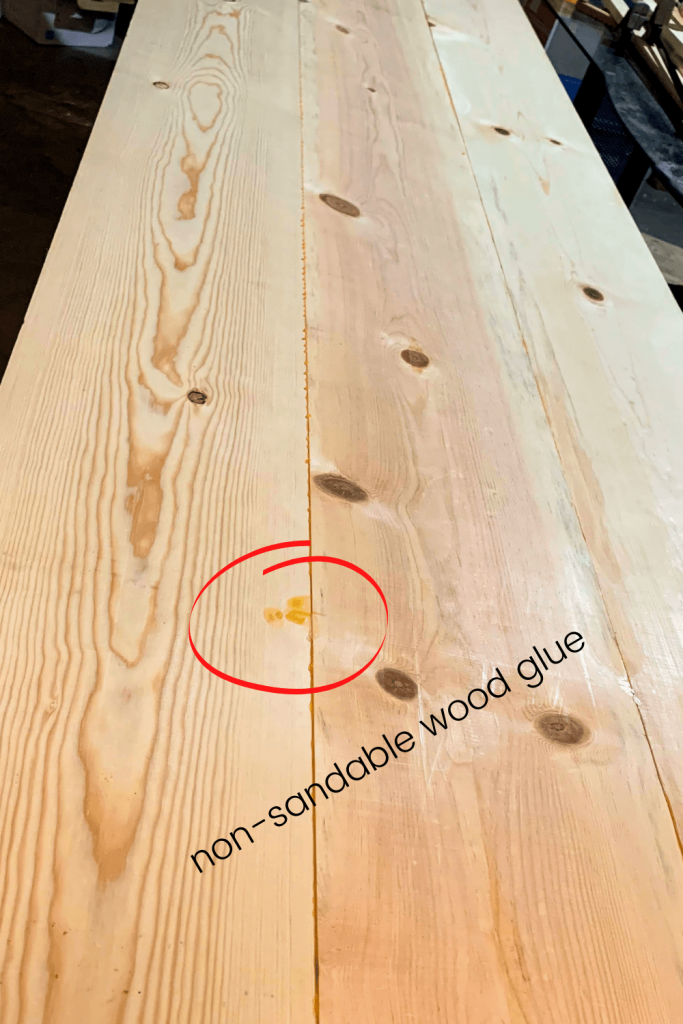 wood glue mistake on this DIY wooden desktop