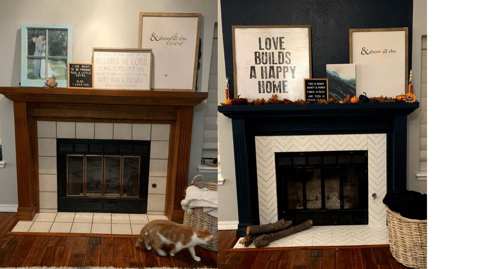 Budget Fireplace upgrade before and after
