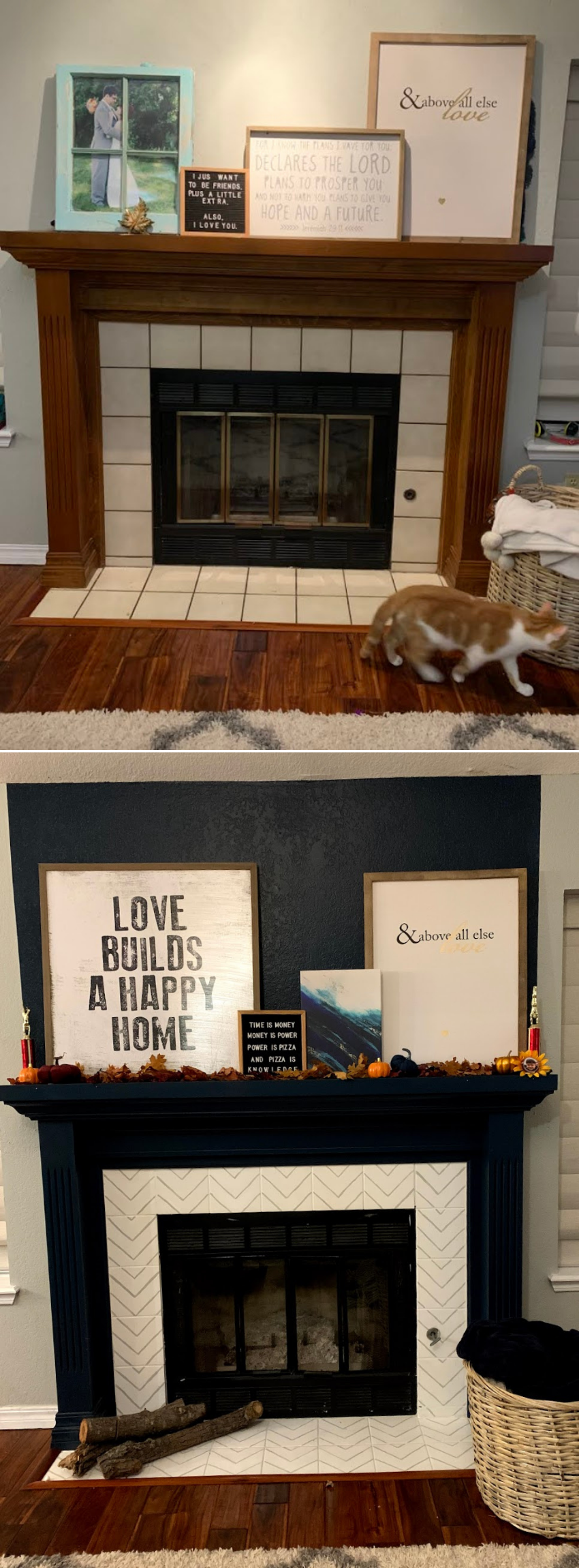 Paint Fireplace before and after