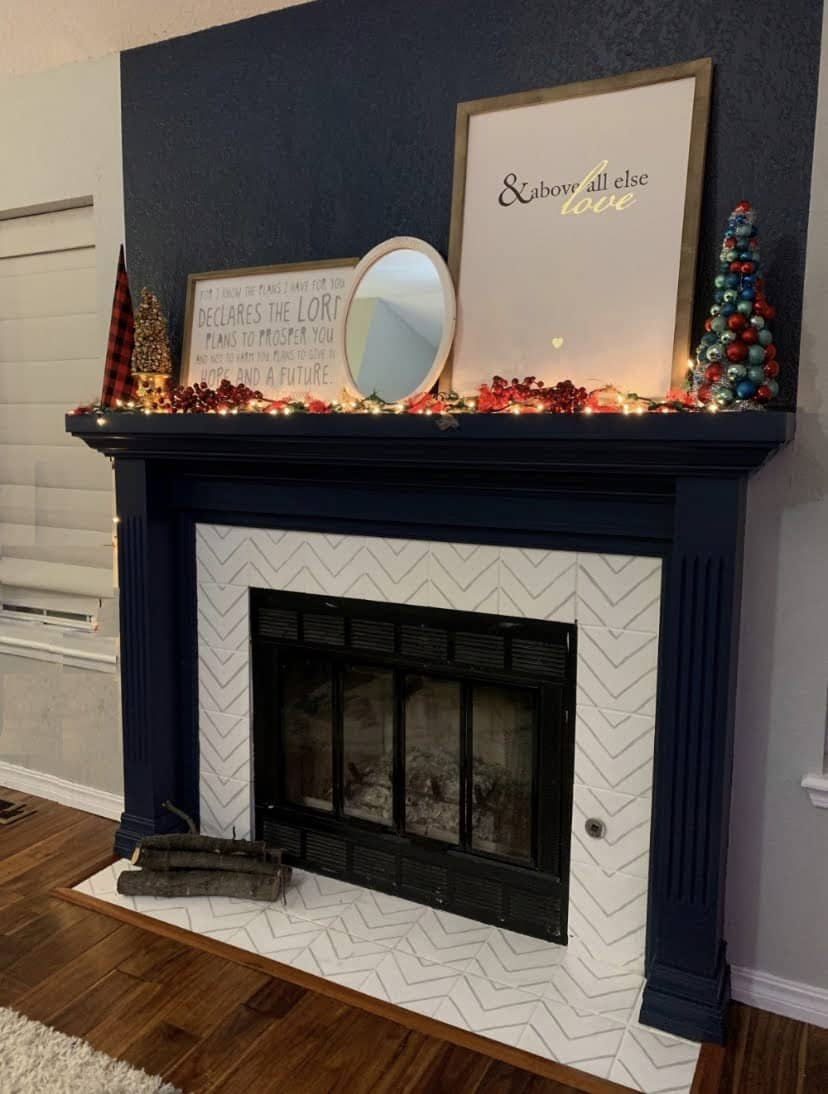 Christmas blue fireplace